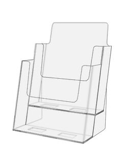 2 Pocket Tiered 6 w Brochure Product Catalog Holder Clear Acrylic Qty 6