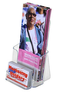 Clear Tri Fold Brochure Holder With Business Card Acrylic Display Qty 12