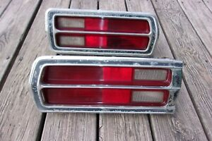 1976 Plymouth Volare Rear Taillight Lense Assemblys W Chrome Bezels Lh