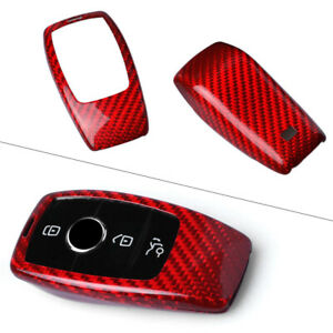 Remote Key Fob Case Cover Shell Fits Mercedes benz E class Red Carbon Fiber Auto
