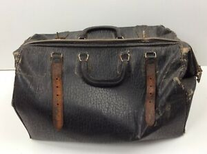 Vintage Worn Distressed Large Leather Doctor Physician House Call Bag