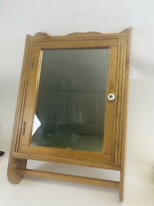 Antique Oak Medicine Cabinet Cupboard 20 X 13 With Towel Bar