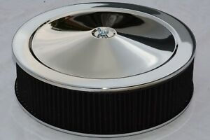 14 X 4 Chrome Round Washable Air Cleaner Recessed Base Black Filter Street Rod