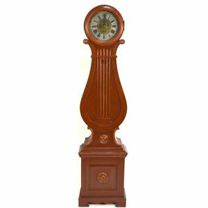 Sweet Uniquely Shaped Antique Painted Swedish Lyre Tall Case Grandfather Clock