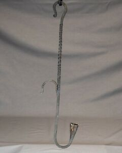 Antique Hanging Twisted Iron Candle Holder With Dual Shepherd Hook Hangers