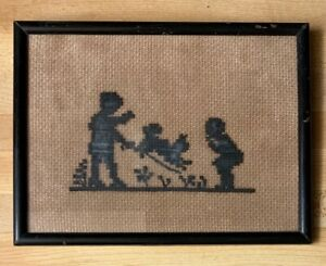 Antique Primitive Cross Stitch Children Playing With Dog 7 5 8 X 6 1 2 Framed
