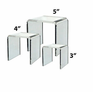 Square Riser Display Stand Set Of 3 Different Sized Clear Acrylic Qty 24
