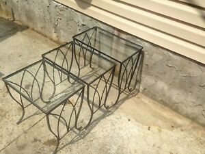 3 Vintage Wrought Iron Glass Nesting Tables Salterini Inspired Patio Garden