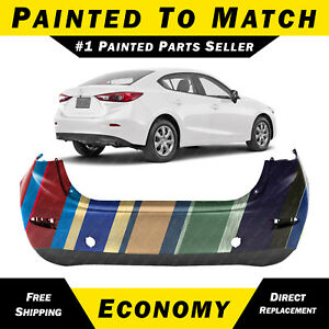New Painted To Match Rear Bumper Cover Replacement For 2014 2018 Mazda 3 Sedan