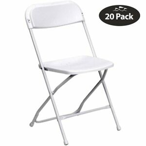 20 White Plastic Folding Chairs Commercial Portable Party Wedding Event Chair