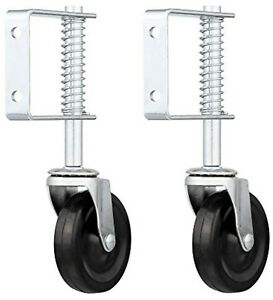 qty 2 4 Spring Loaded Rubber Wheel Gate Caster Gate Support Wood chain