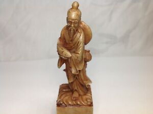 Chinese Soapstone Seal Carved Immortal Wise Man