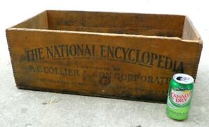 Antique Vintage National Encyclopedia Wooden Dovetail Box Wood Shipping Crate