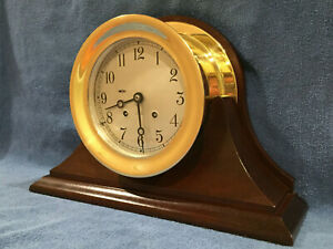 Fully Restored Chelsea Ships Bell Clock With Mahogany Base Large 6 Dial