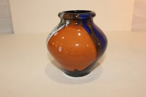 Art Deco Pottery Vase Signed 5quot; x 5quot; tall Multi Colors No Chips