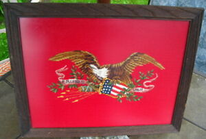 Civil War Antique American Eagle Tapestry Needlepoint Textile Political Art
