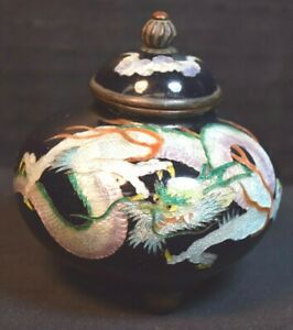 Meiji Japanese Foil Cloisonne Covered Miniature Urn With Dragon