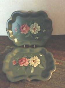 2 Vtg Green Tin Trays W Hand Painted Tole White Pink Rose Flowers