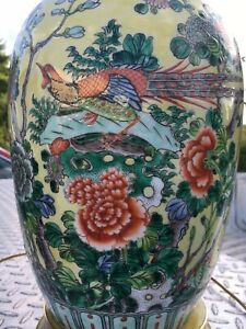 Vintage Antique Excellent Chinese Famille Rose Vase Lamp Very Nice Piece