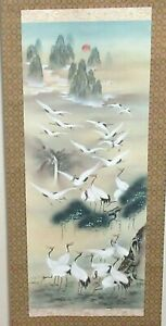 Huge Chinese Original Watercolor Scroll Crane Birds Painting Signed