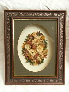 Vintage Victorian Style Dried Flower Display In Shadow Box Frame Signed C1980 S