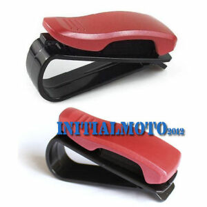 Red Car Sedan Visor Sun Shield Eyeglass Ticket Sunglasses Holder Clip Organizer