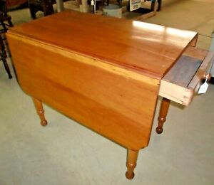 Cherry Drop Leaf Table With Dovetailed Drawer Antique Old Finish