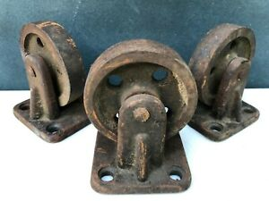 Vintage Industrial Salvage Cast Iron Metal Wheels Set Of 3 Matching 3 5 Inches