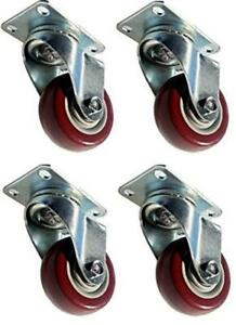 4 Pack Caster Wheels Swivel Plate Stem Casters On Red Assorted Sizes