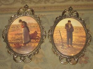 Large Pair Vintage Brass Glass Framed Pictures Italy Praying Farmer Man