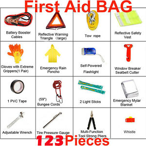 123pc Car Emergency First Aid Kit Safety Breakdown Triangle Red Reflective Jack