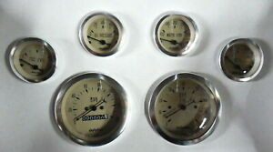 Dolphin 6 Tan Mechanical Speedometer Street Rod Gauge Set With Sender Tan Ch