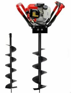 2 3hp Post Hole Digger 55cc Gas Earth Ice Dirt Borer W 2 Auger Bits 4