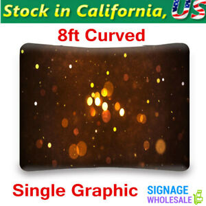 8ft Curved Portable Tension Fabric Display Stand Backdrop Banner Single Graphic