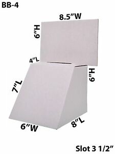 Cardboard Large Suggestion Donation Ballot Box Counter Top 8 1 2 X 6 Lot Of 50