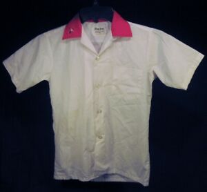 Vintage KING LOUIE Bowling Shirt COCA COLA Patch White Red Youth Child Size 14