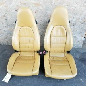 2003 Porsche 911 996 Front Seats Pair Left Right Heated Beige Leather