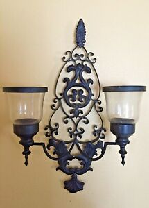 Ornate 20 Black Wrought Iron Glass Wall Sconce For Candles Double Intricate