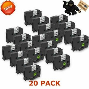 20 Pk Tz131 Tze131 Label Tape Black On Clear New P touch Label Maker 12mm 8m