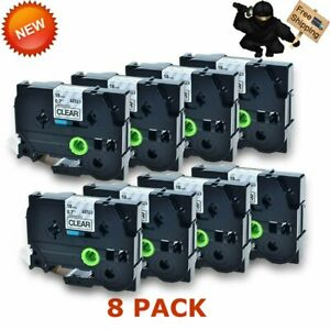 8pk Tze141 Tz141 Black On Clear Label Tape For New P touch Pt 2710 3 4