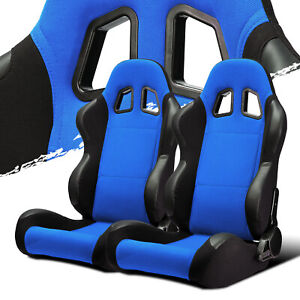 Black Blue Fabric pvc Leather Left right Recaro Style Racing Bucket Seats