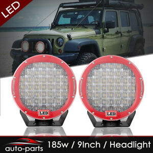 185w 9 Led Work Light Offroad 4d Round Spot Flood Cover Lamp Roof Red Headlight
