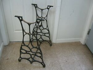 Antique New Home Industrial Cast Iron Rolling Table Legs Base W Bottom Bar