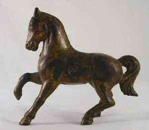 Rare Antique Gold Colored Cast Iron Still Penny Bank Prancing Horse Canadian