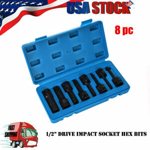 1 2in Drive Impact Socket Hex Bits 8pc Metric Set Long Air Allen Driver New