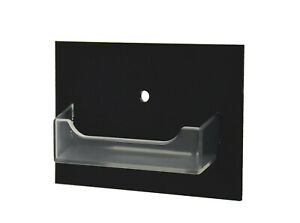 Wall Business Card Holder With Hole Clear Pocket Horizontal Black