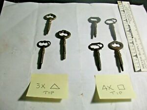 Lot Of 7 Antique Key Ornate Old 4x Square Tip 3x Triangle Tip