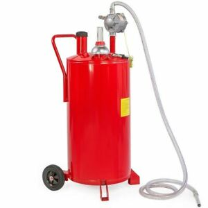 20 Gallon Red Gas Caddy Tank Gasoline Fluid Diesel W Rotary Pump And Hose Red