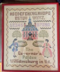 Antique Needlework Cross Stitch Sampler Alphabet Williamsburg Governors Palace