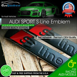 2x For Audi S Line Gloss Black Badge Emblem 3d A3 A4 A5 A6 A7 Q5 Tt Side Fender
